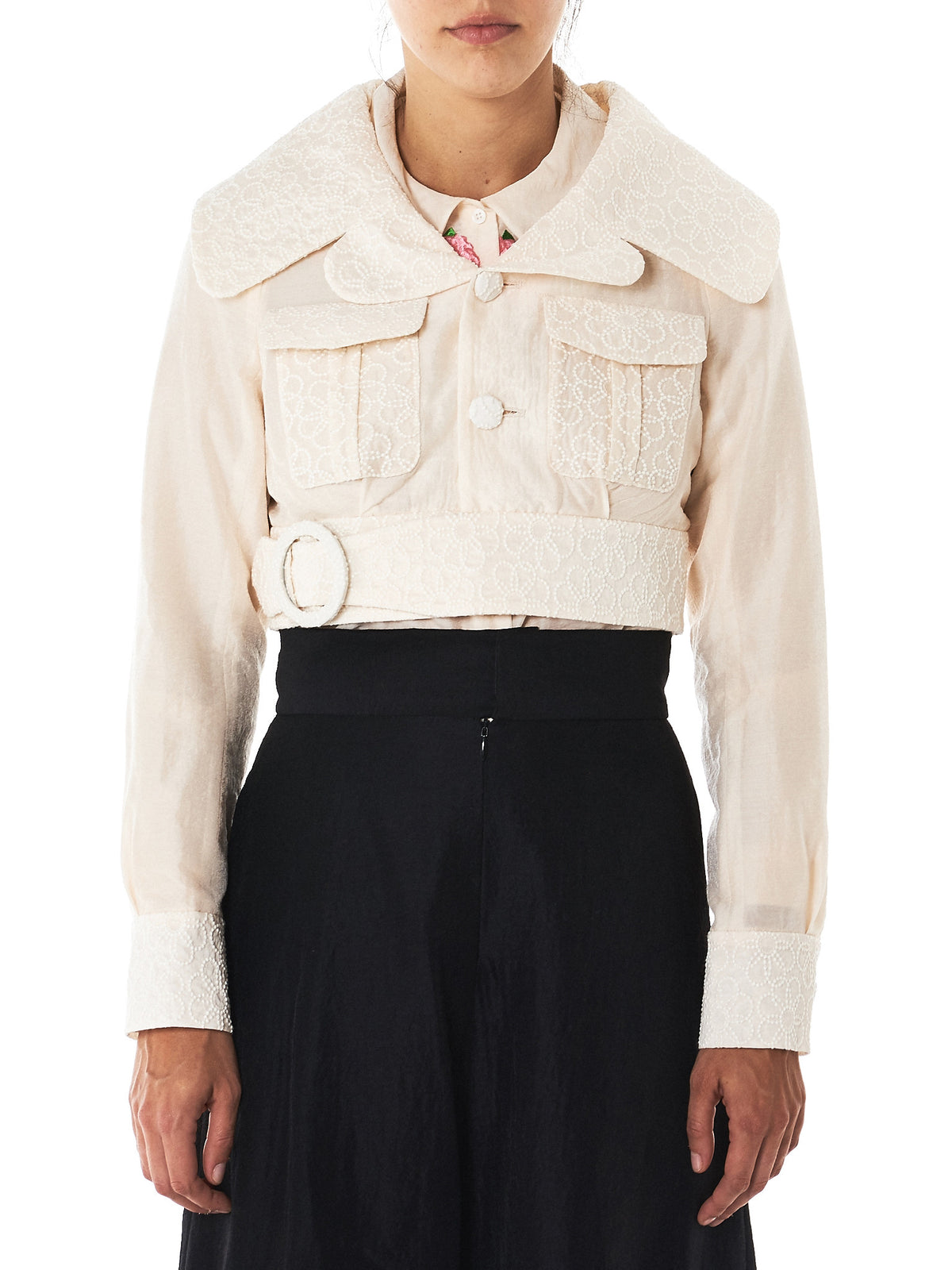 Embroidery Cropped Belted Jacket (WA17AW-17-IVORY)