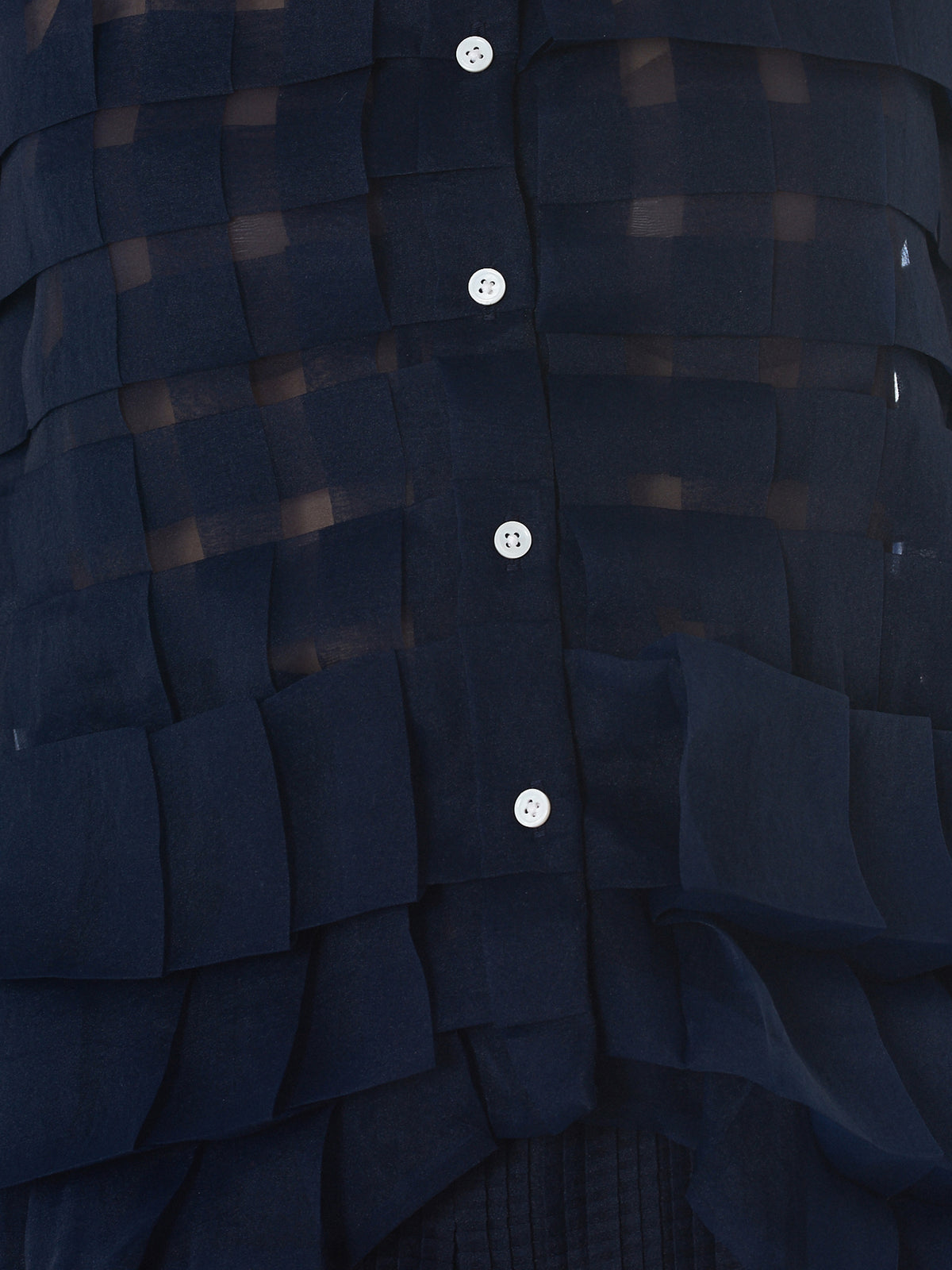 Check Weave Tulle Blouse (WA18SS-04-NAVY)