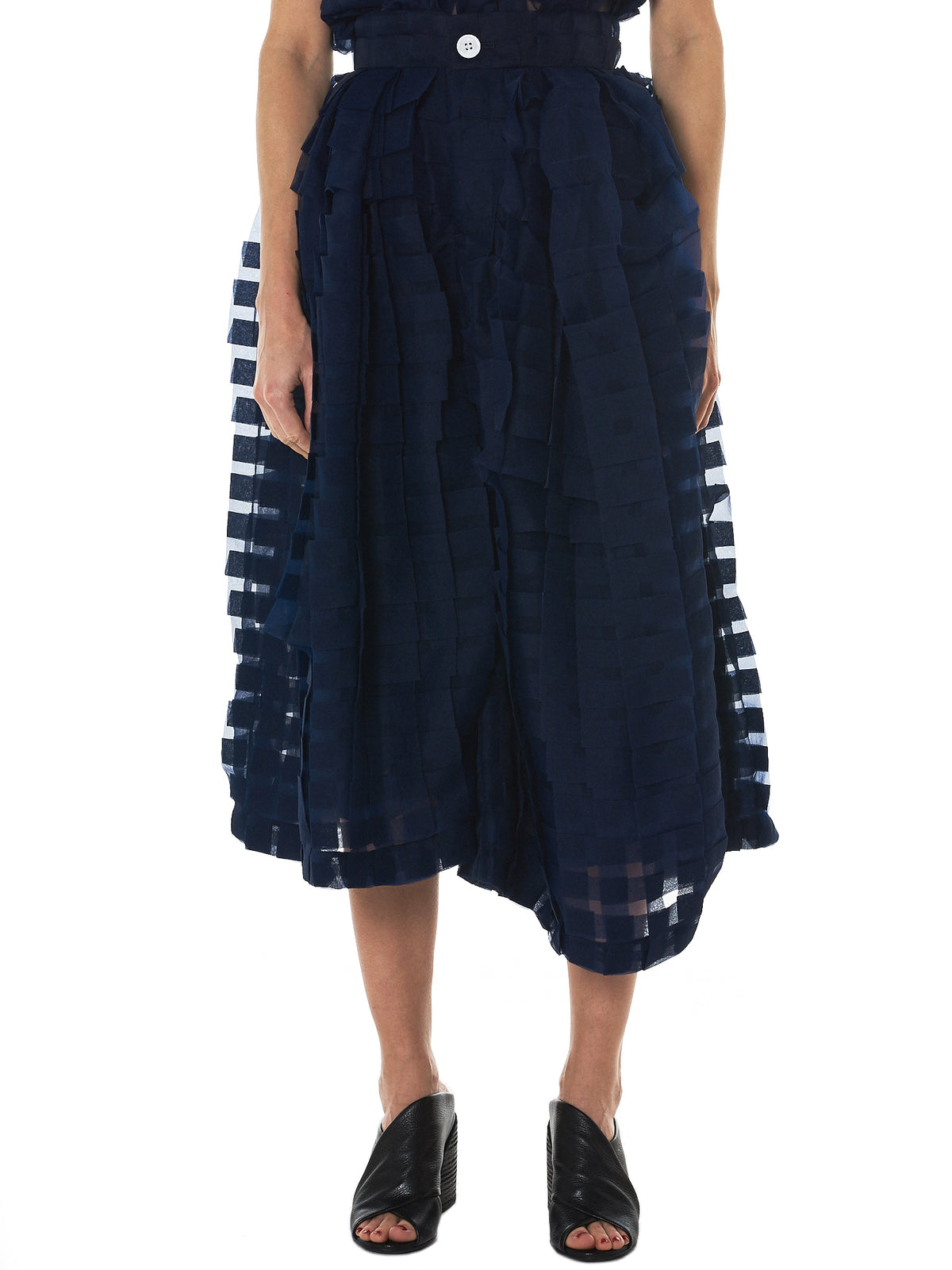 Check Weave Tulle Skirt (WA18SS-08-NAVY)
