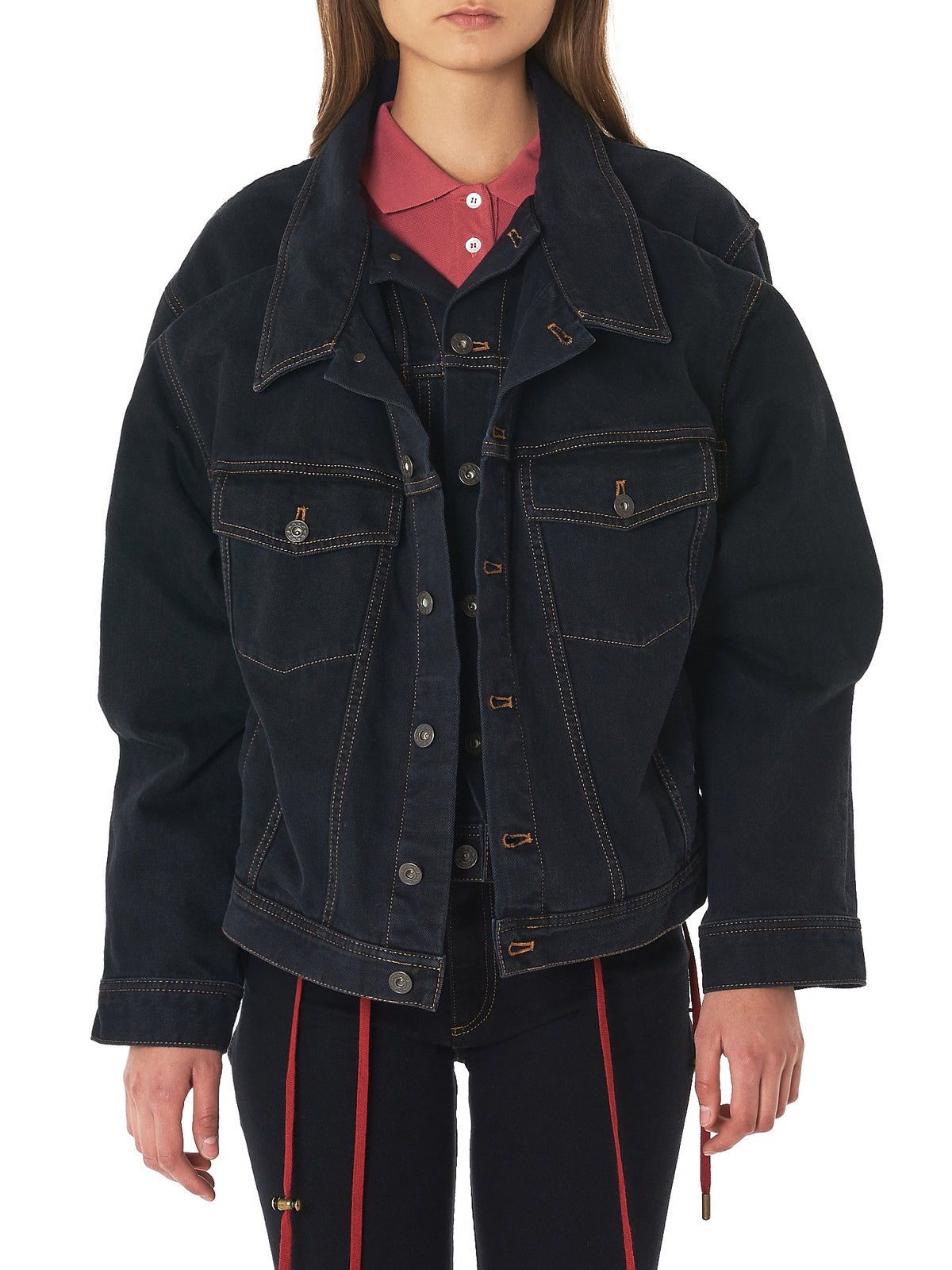 Tiered Denim Blouson (WJACK3-S14-F30-S14-BLACK)