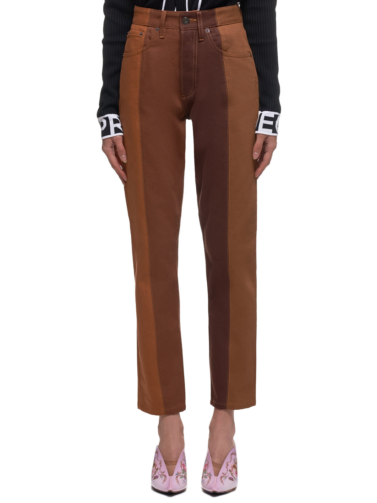 Two-Tone W Jeans (WJEAN24-S18-D05-BROWN-RUST)