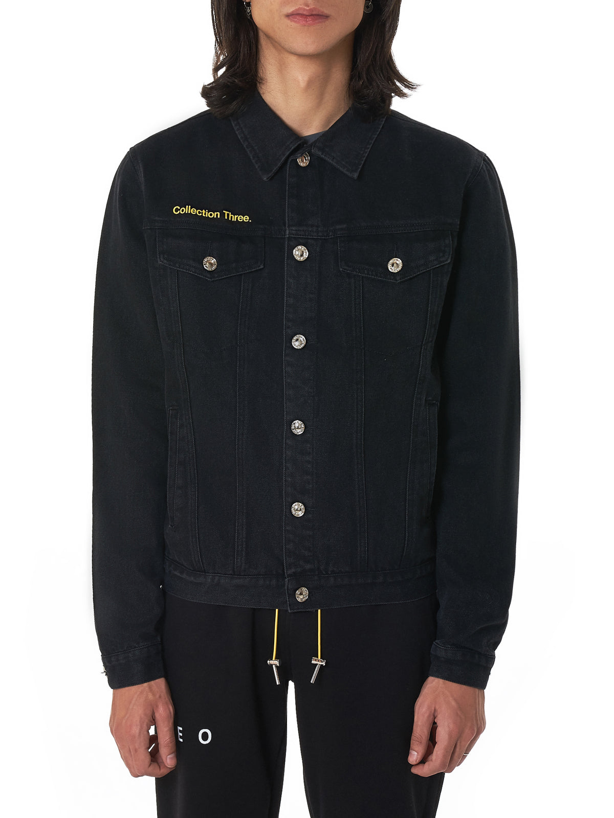 Geo Black Denim Jacket - Hlorenzo Front