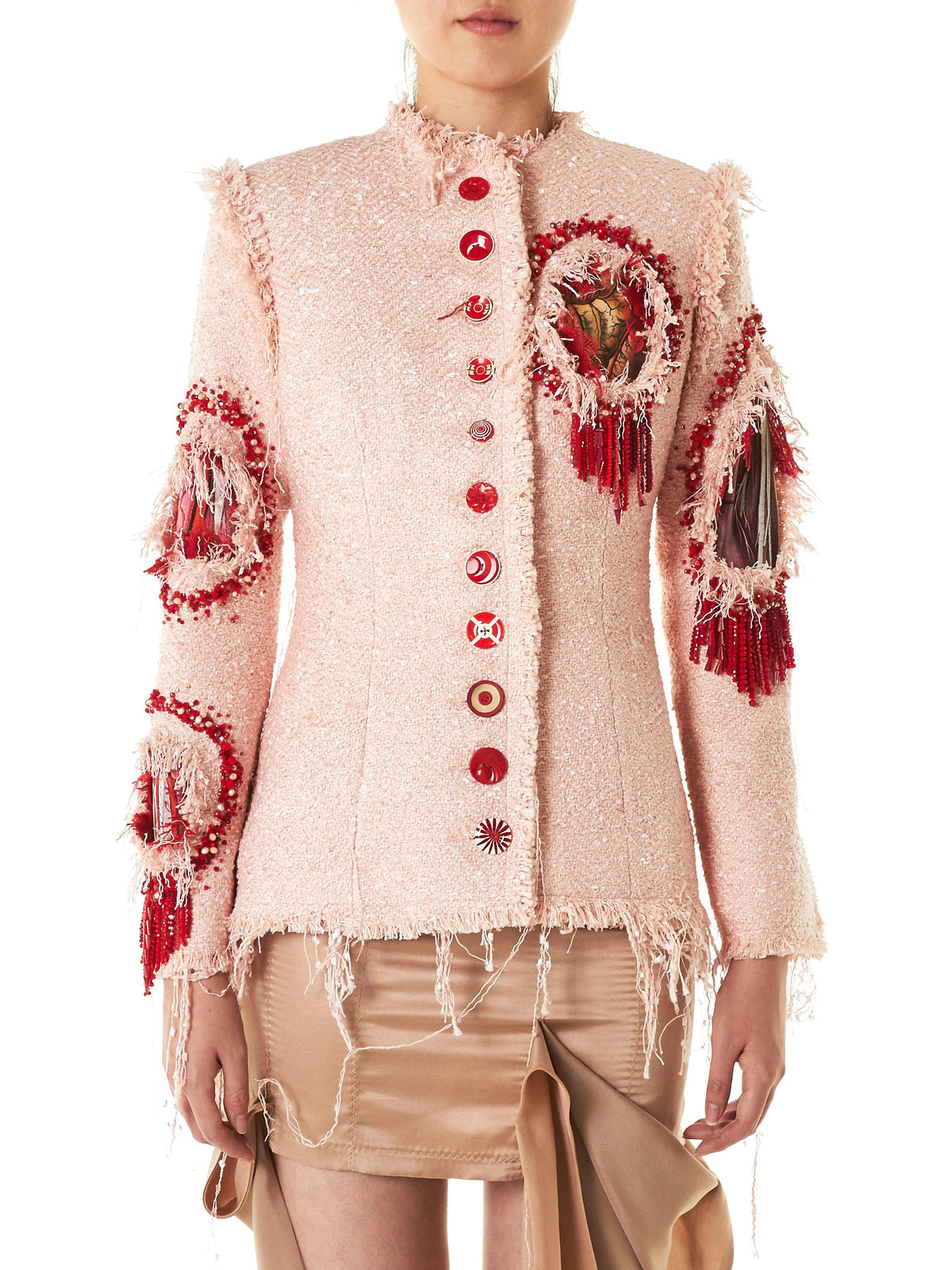 Knitted Fringe Blazer (WOUNDED-CHANEL-PINK) - H. Lorenzo