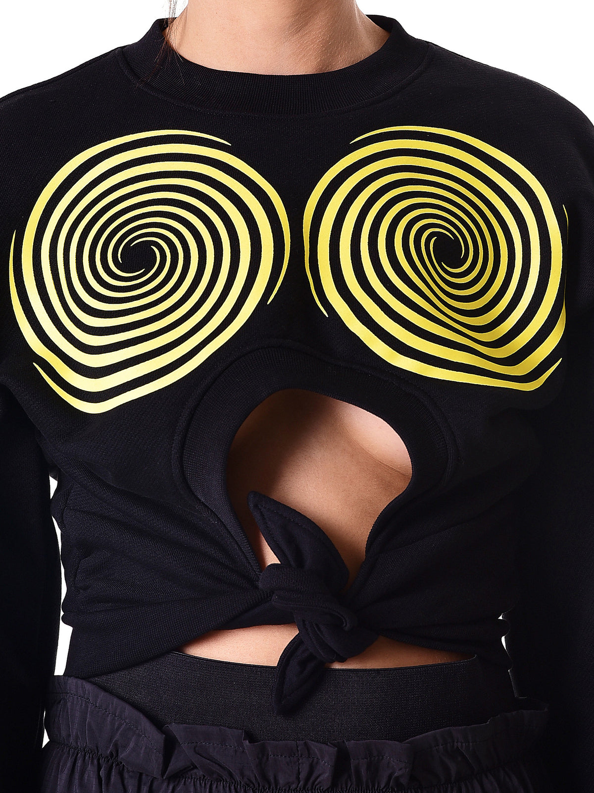 Cropped Vented Sweater (WSWEAT3P-S12-CC120-BLACK-YELLO)