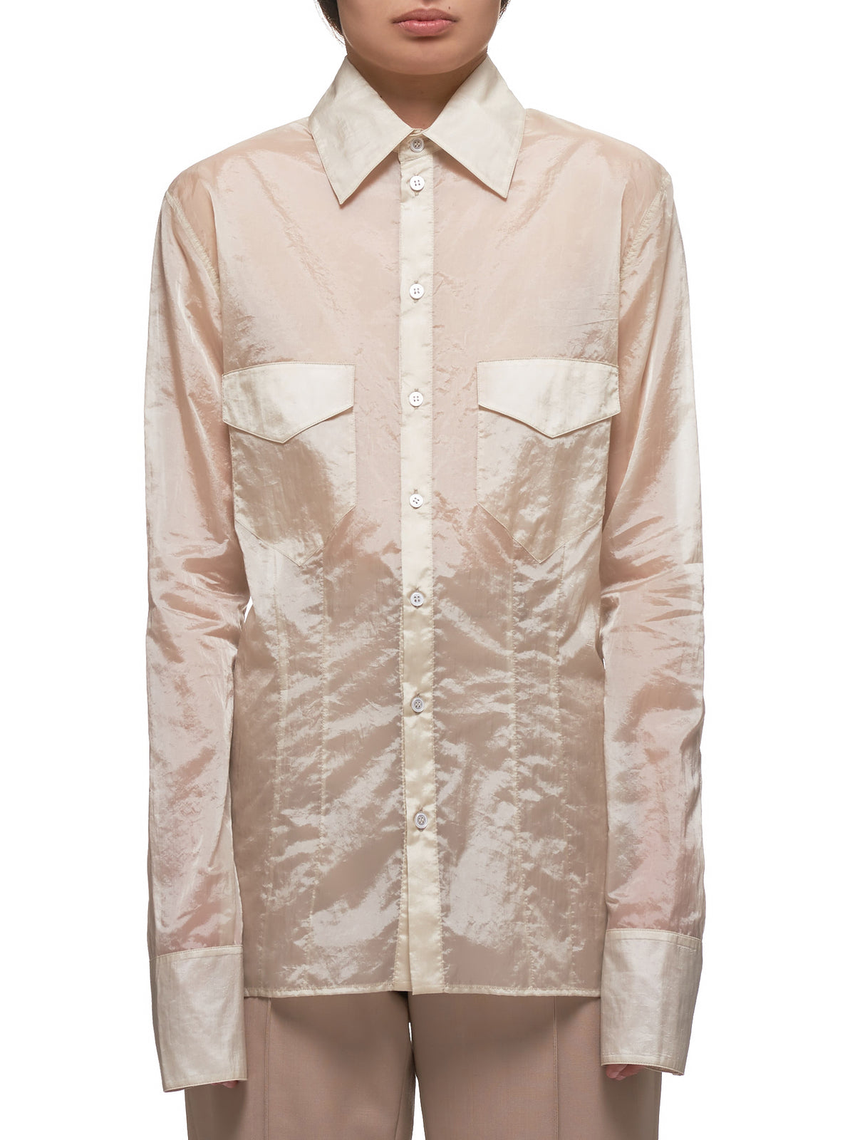 Light Poly Slim Button Down Shirt (WT039W-ULP-SAND)