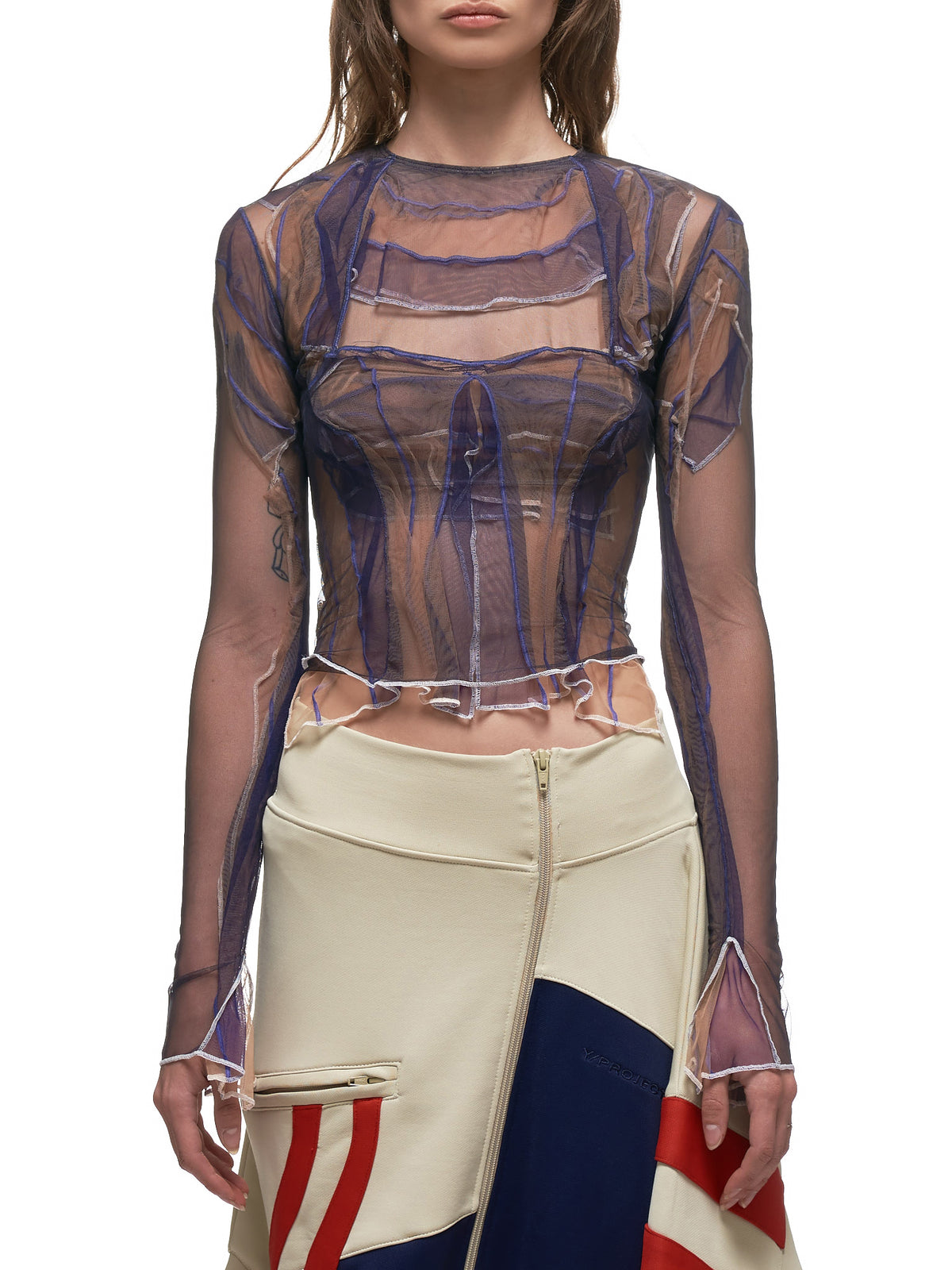Tulle W Top (WTOP17-S18-F33-NAVY-TAUPE)