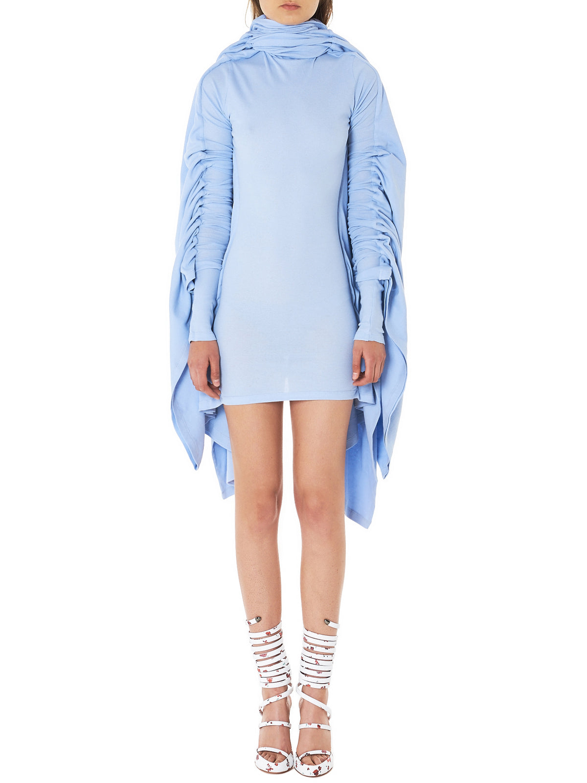 Caped Ruche Mini Dress (WTS8S-S14-F52-S14-ICE-BLUE)