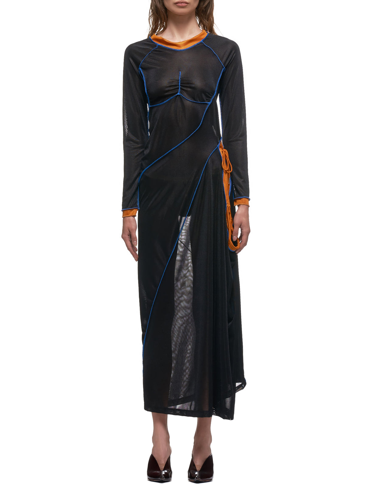 Fitted Full-Length Multi-Tie Dress (WTSDRESS36-S18-F176-BLACK-MULT)