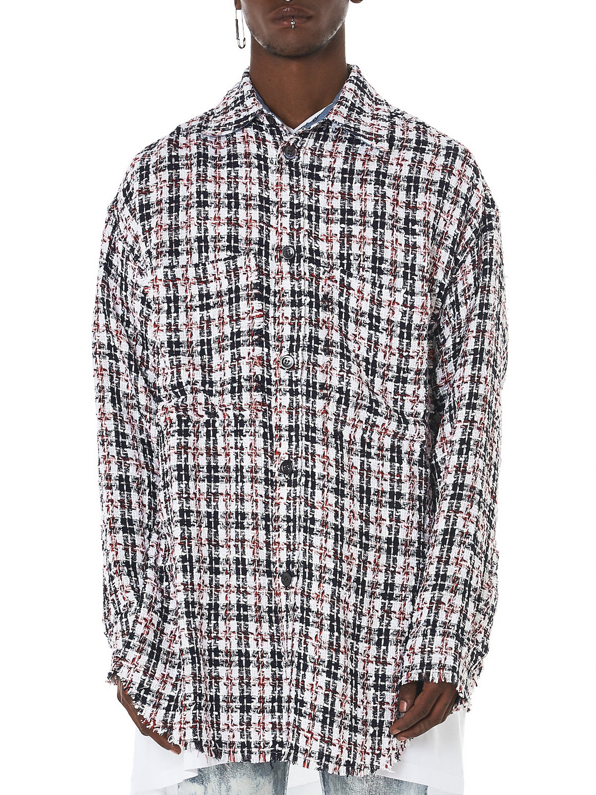 Buttoned Melange Check Shirt (X1819T00021-NAVY-RED)