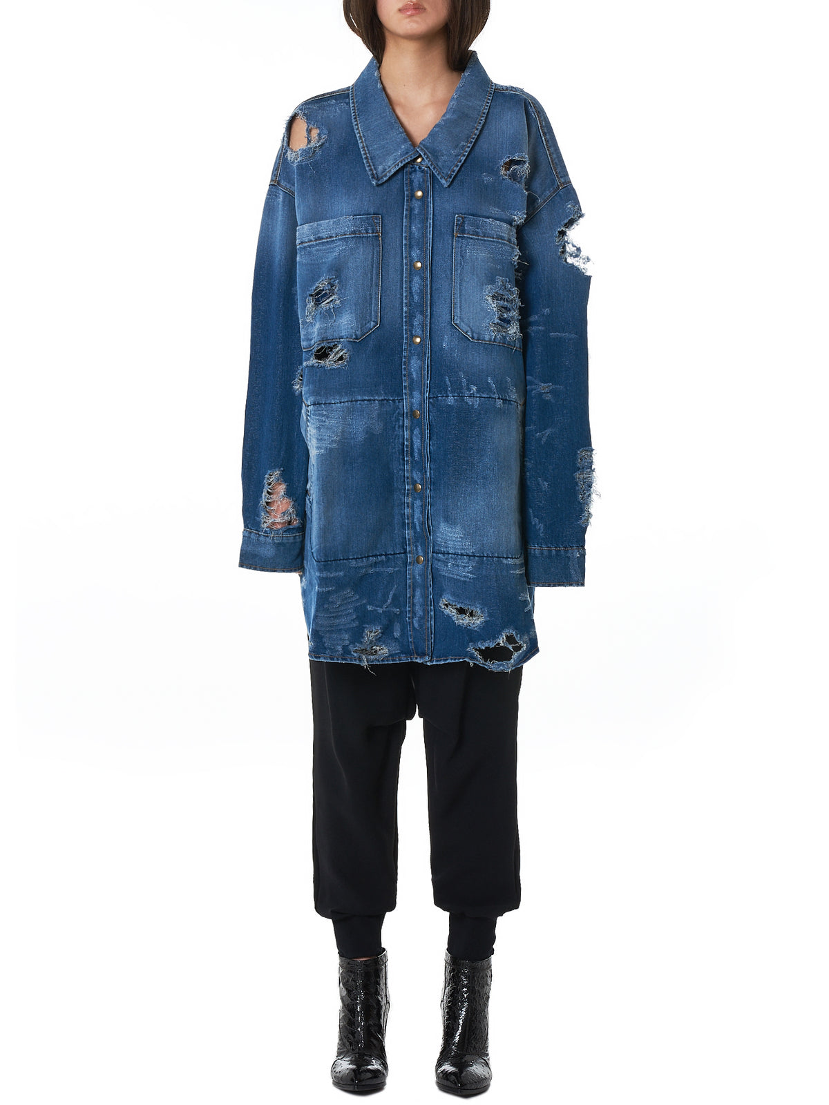 Faith Connexion Oversized Denim Shirt - Hlorenzo Front