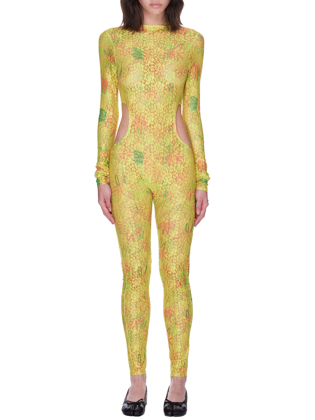 Circle Cardio Bodysuit (XX2113-YELLOW-FLOWER-DRIP)