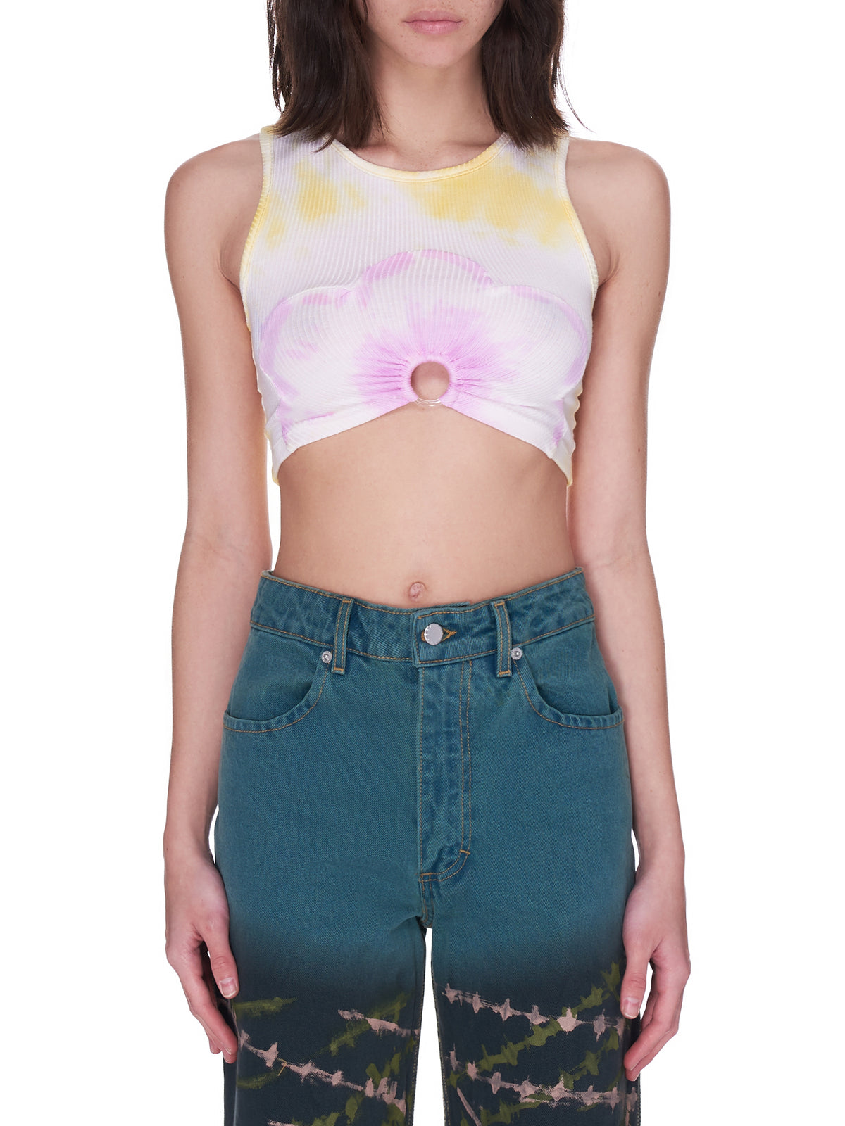 Ribbed Flower Crop Tank (XX3151-PINK-YELLOW)
