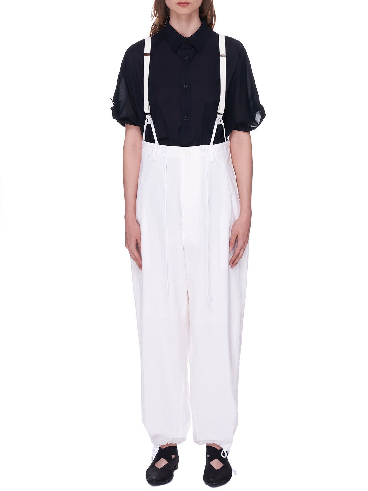 Loose Fit Suspender Trousers (YD-P03-009-WHITE)