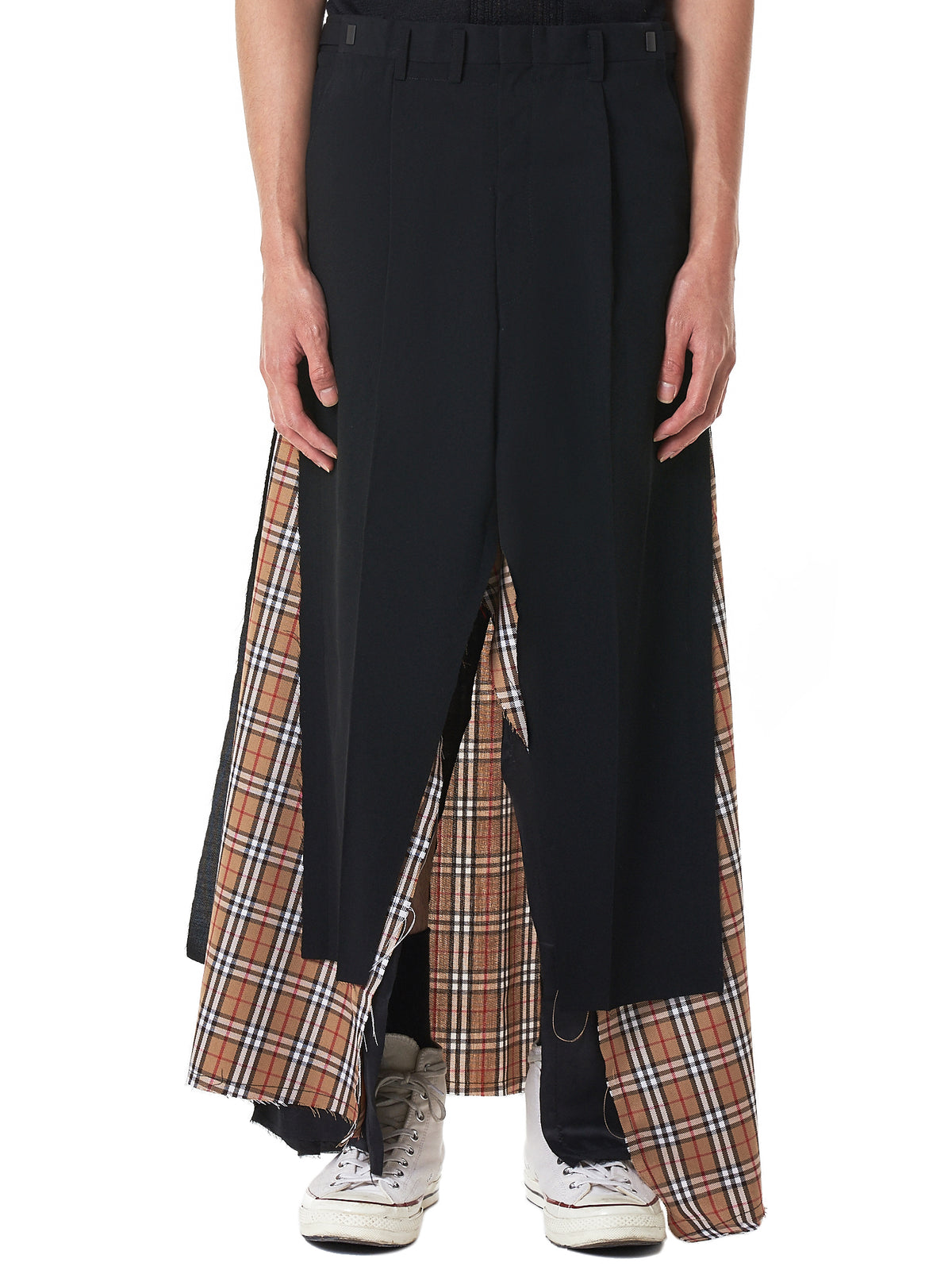 Layered Checked Skirt (YHPC05-BLACK-CHECKED)