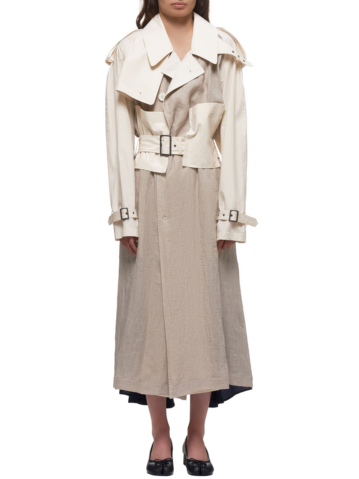 Canvas Panel Trench Coat (YN-C01-800-1-IVORY)
