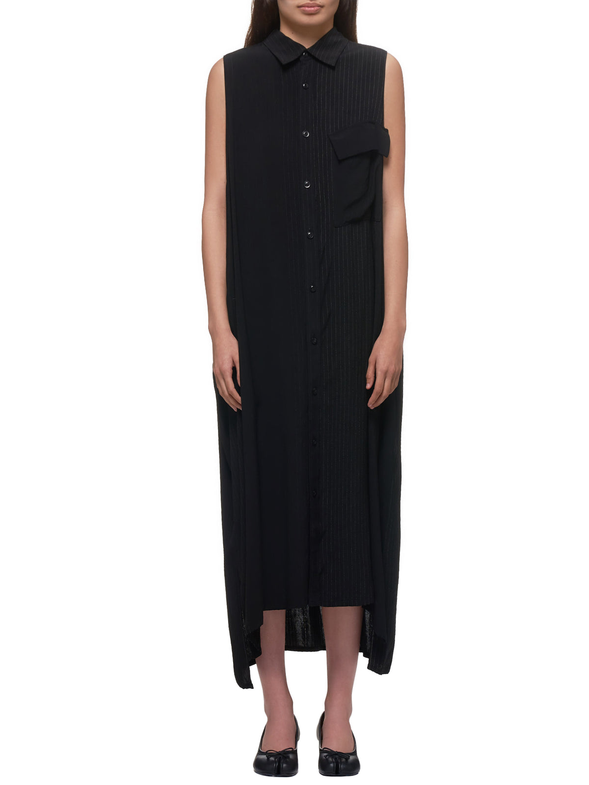 Sleeveless Shirt Dress (YN-D09-202-3-BLACK)