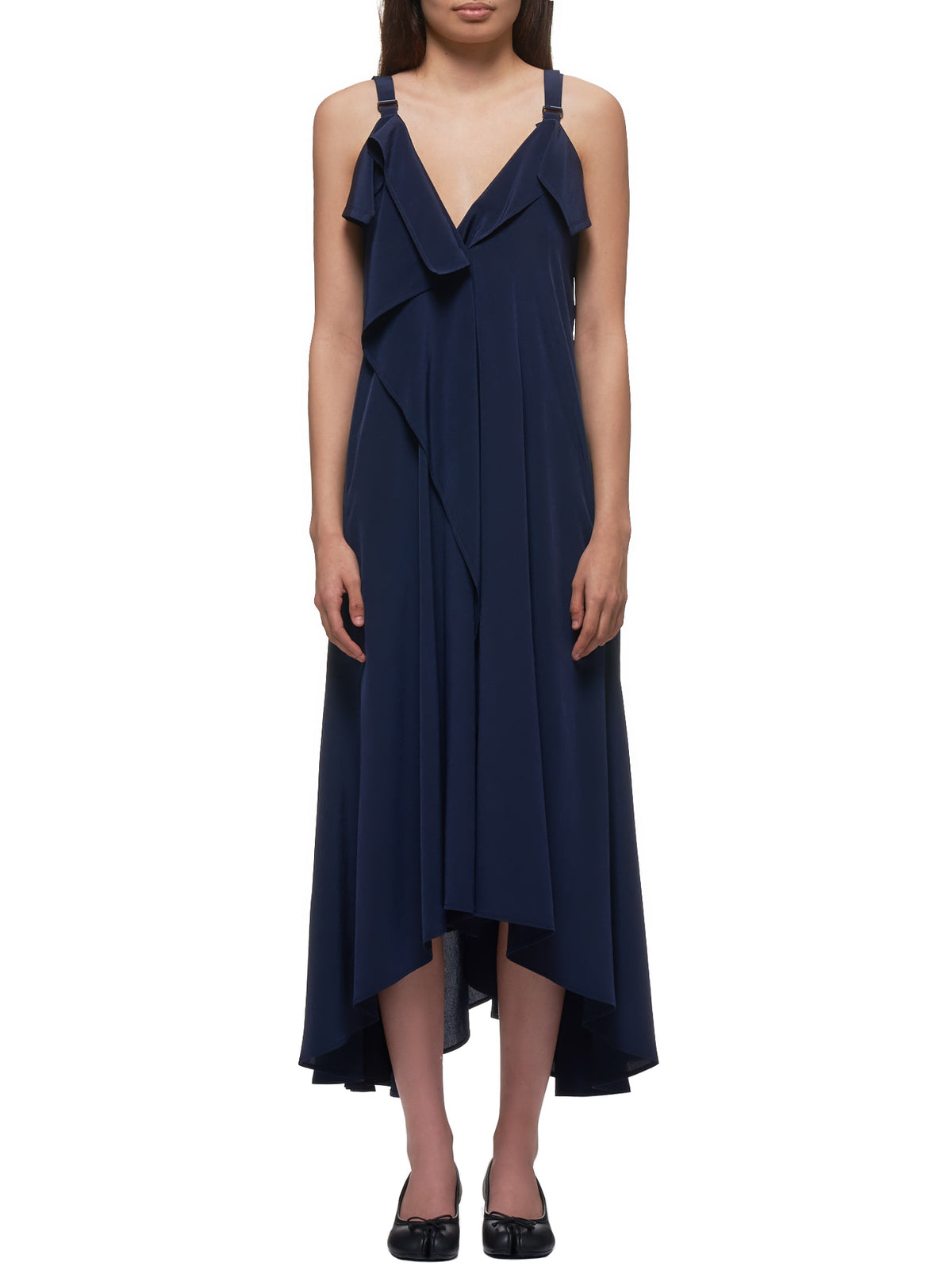 Asymmetrical Ruffled Sundress (YN-D32-501-1-NAVY)