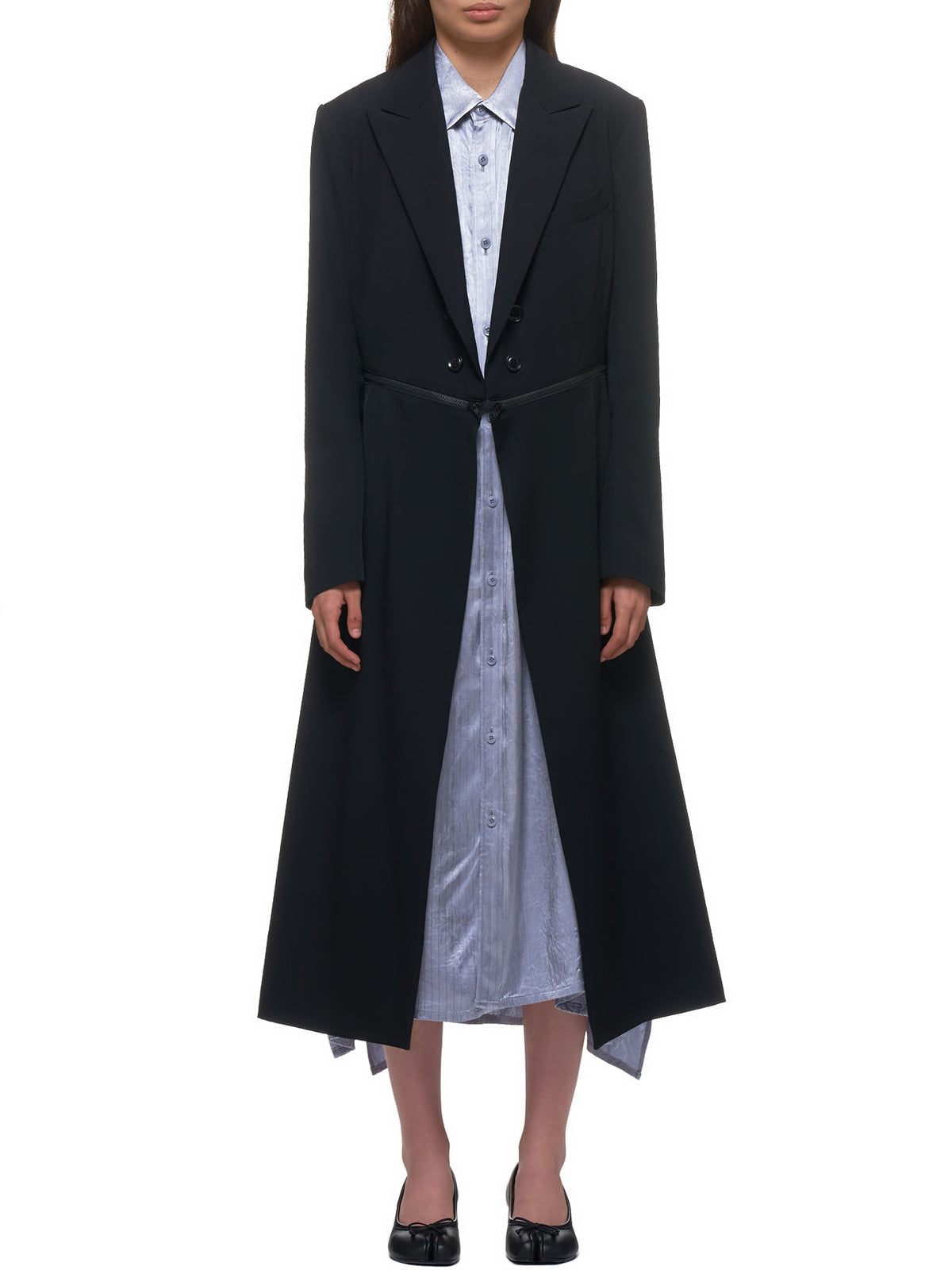 Zippered Wool Coat (YN-J01-100-1-BLACK)