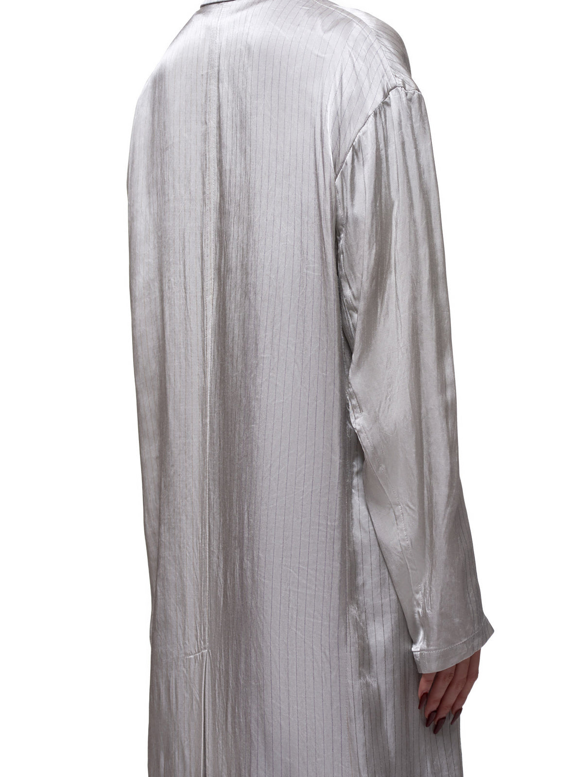 Luminous Pinstripe Duster (YN-J10-202-LIGHT-GREY)