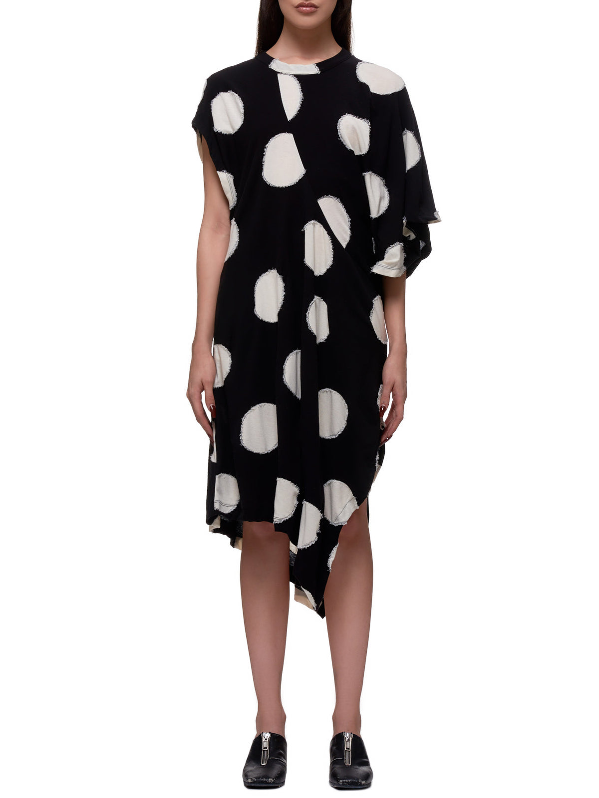 Raw Polka Dot T-Shirt Dress (YN-T30-062-BLACK)