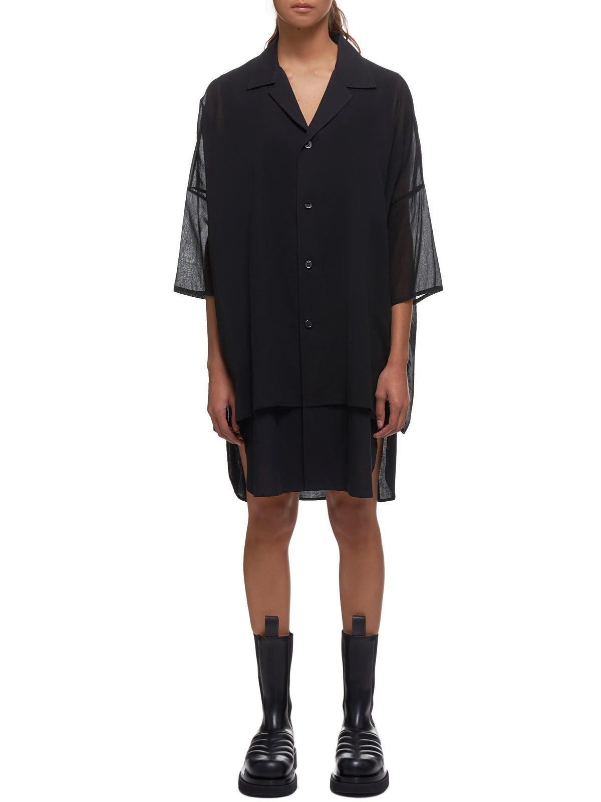 Oversize Camp Shirt (YS-B02-030-BLACK)