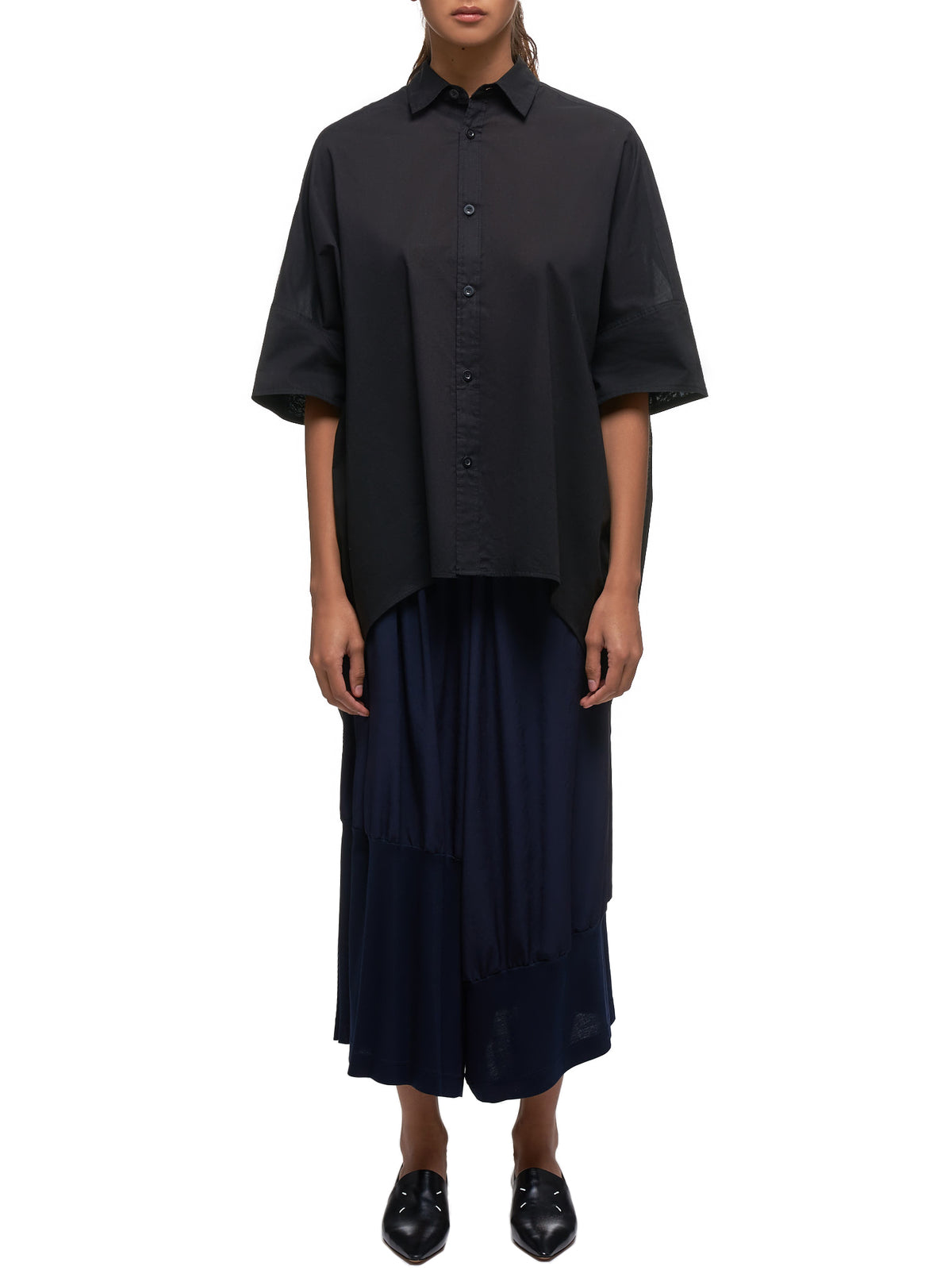Oversized Short-Sleeve Shirt (YS-B41-040-BLACK)