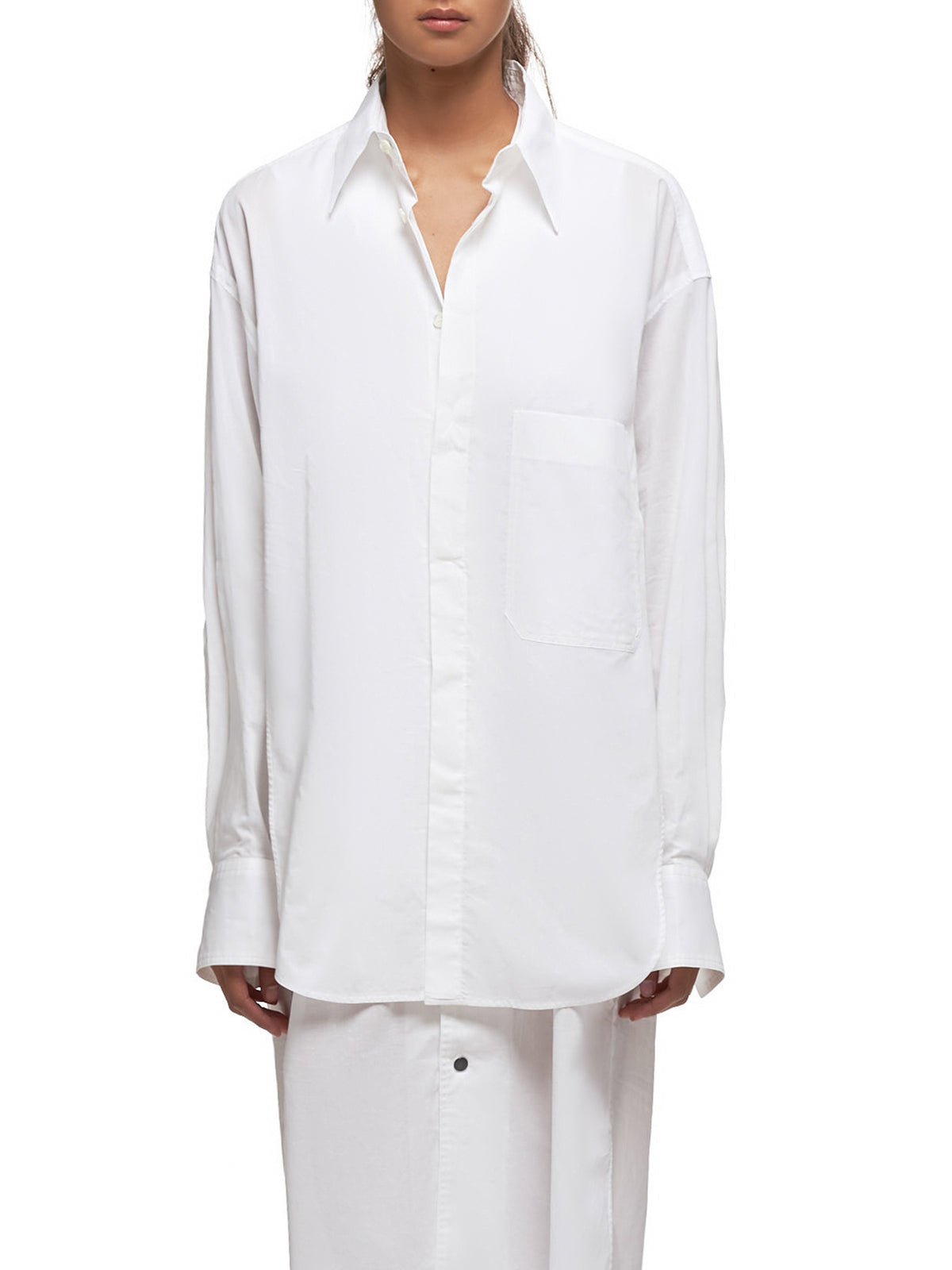 Double-Layered Shirtdress (YS-B42-040-WHITE)