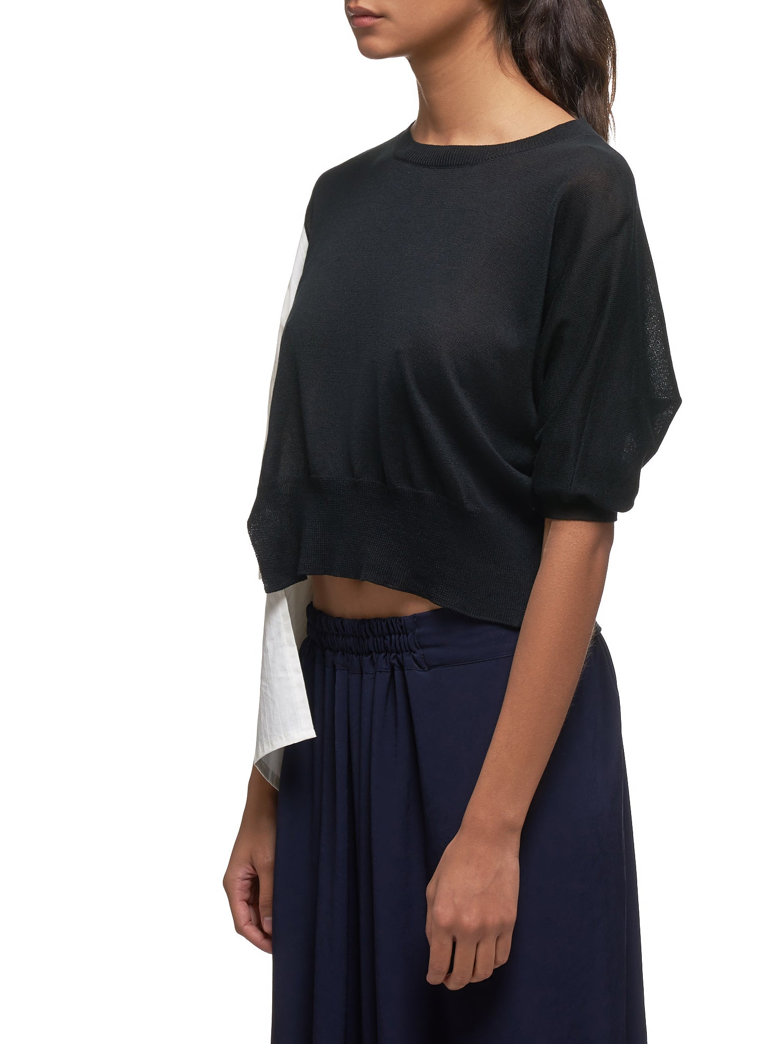 Asymmetrical Cropped Shirt (YS-K81-247-BLACK)