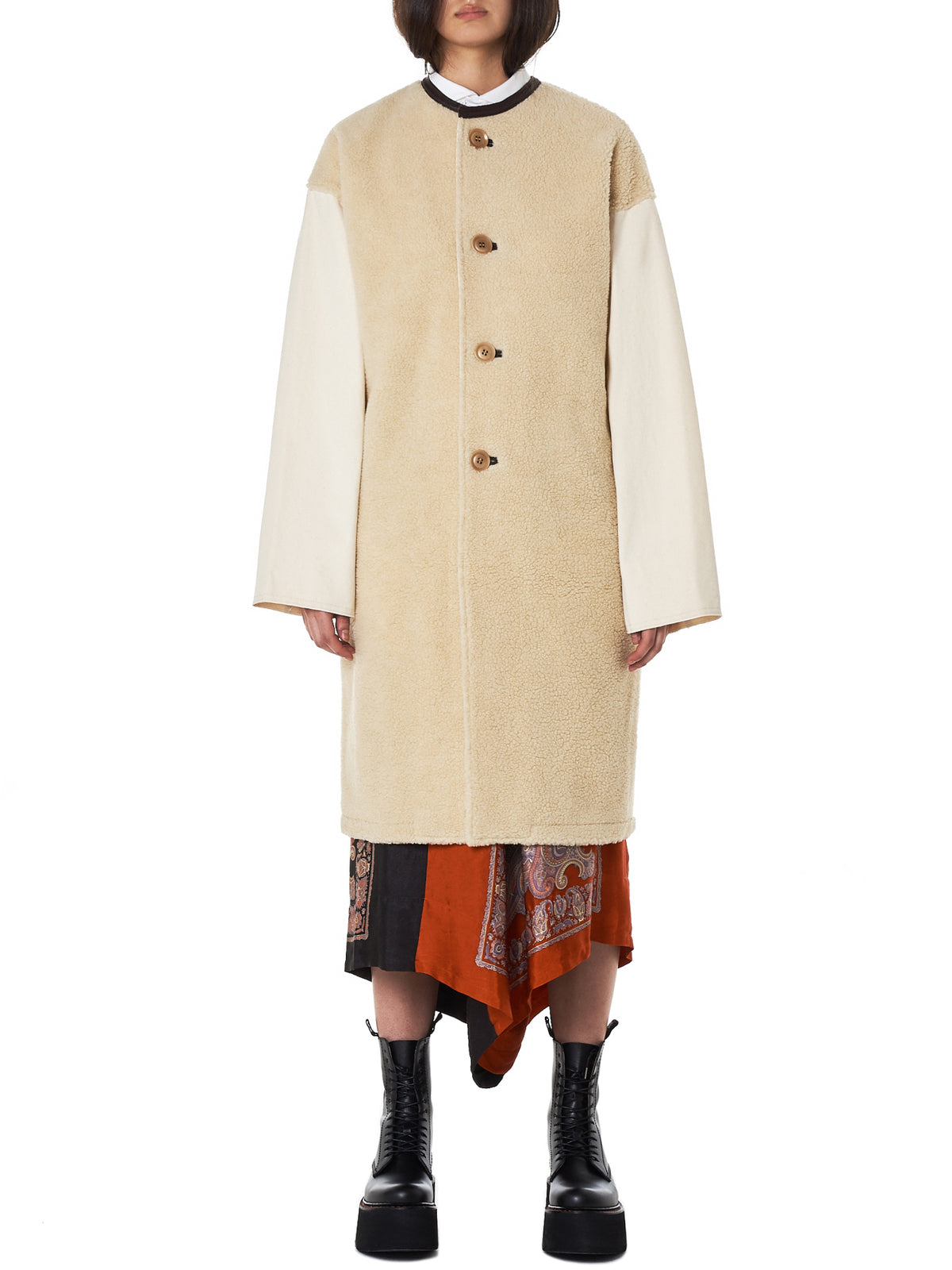 Collarless Shearling Coat (YV-C42-834-1OFF-WHITE)
