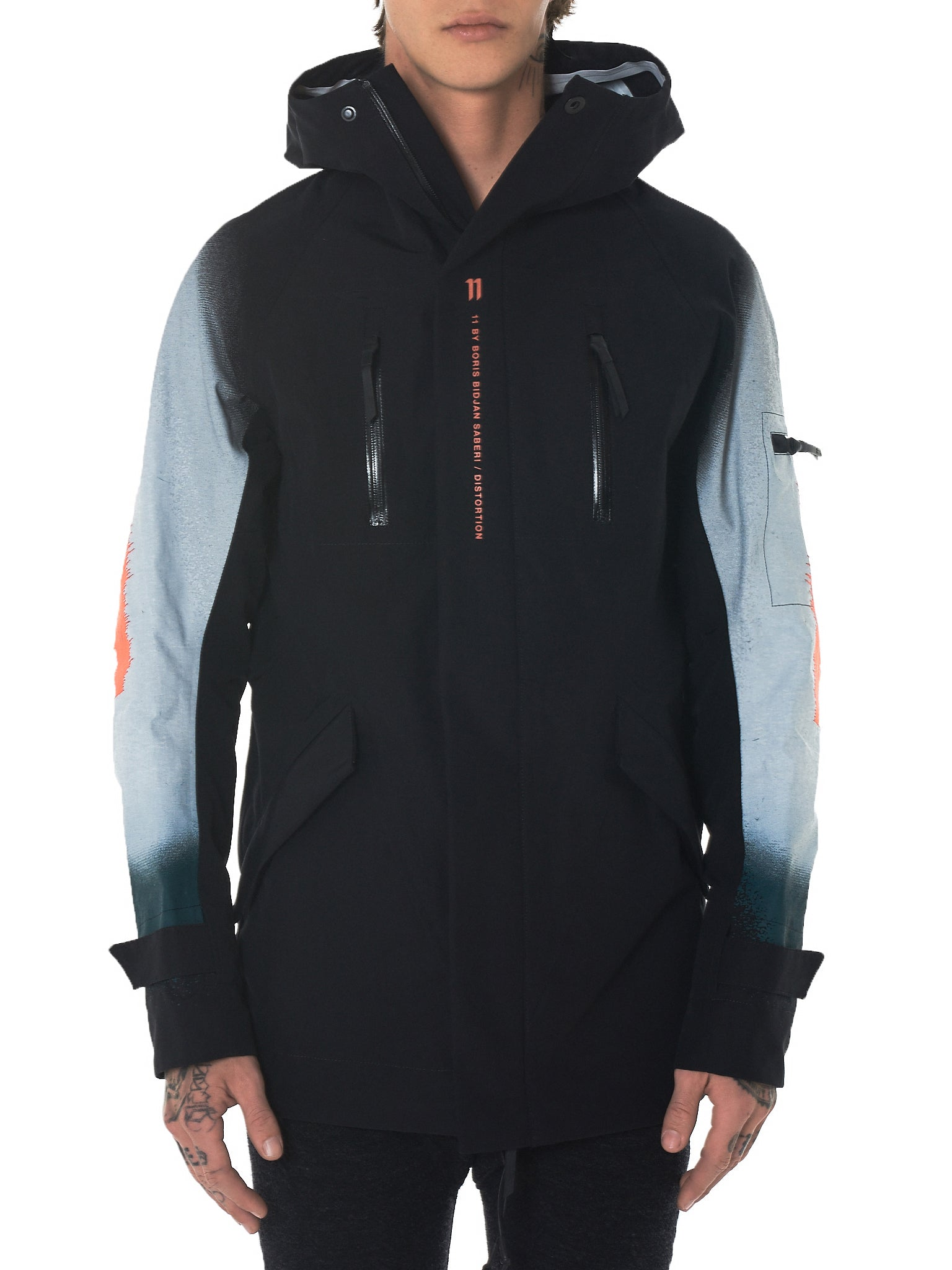 11 By Boris Bidjan Saberi Distortion Hooded Jacket - Hlorenzo Front
