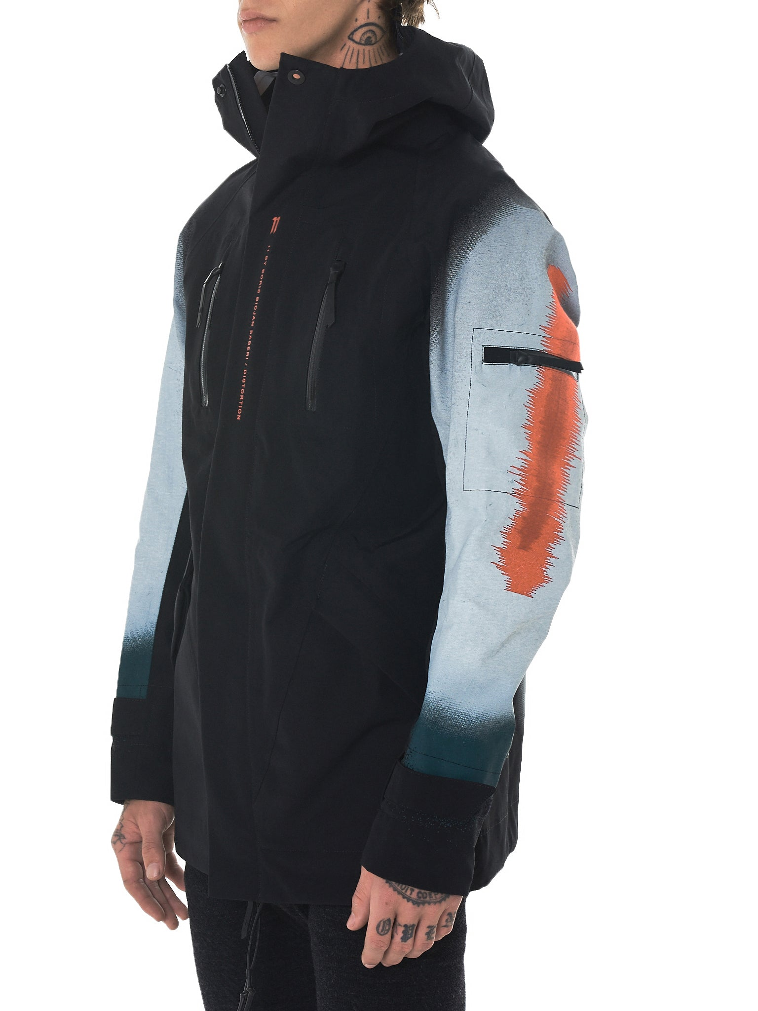 11 By Boris Bidjan Saberi Distortion Hooded Jacket - Hlorenzo Side