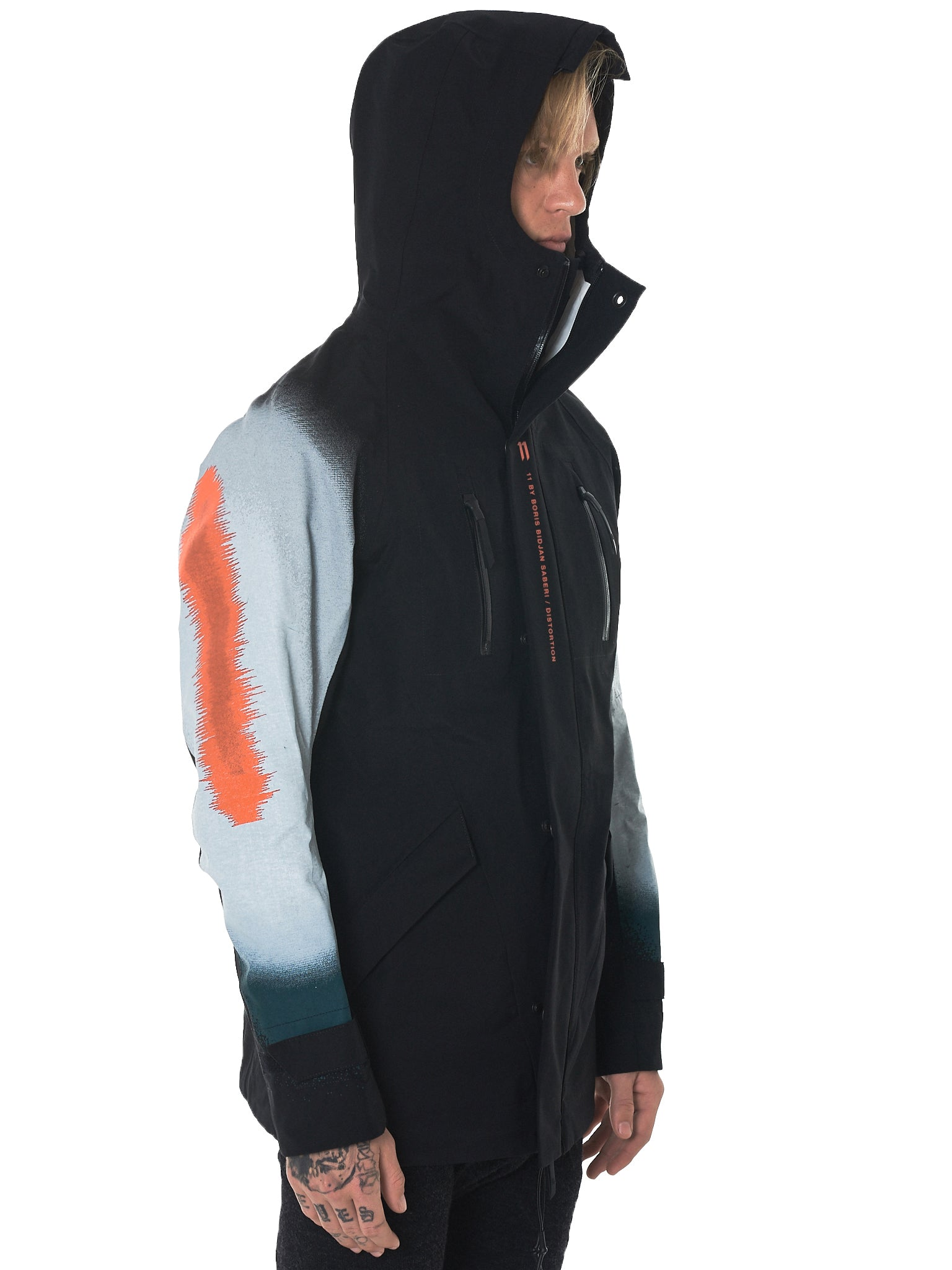 11 By Boris Bidjan Saberi Distortion Hooded Jacket - Hlorenzo Detail 1