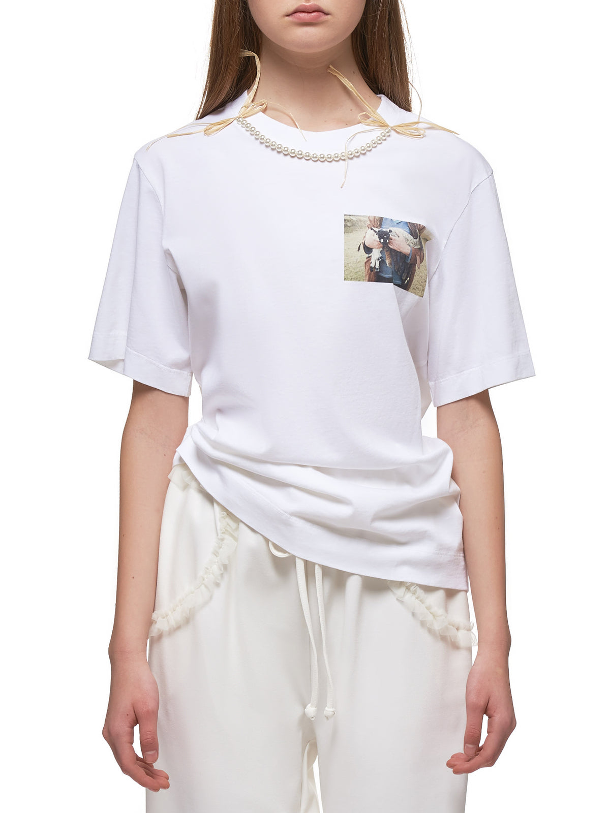 Lamb Print T-Shirt (TS268-1B-0557-WHITE-NATURAL)