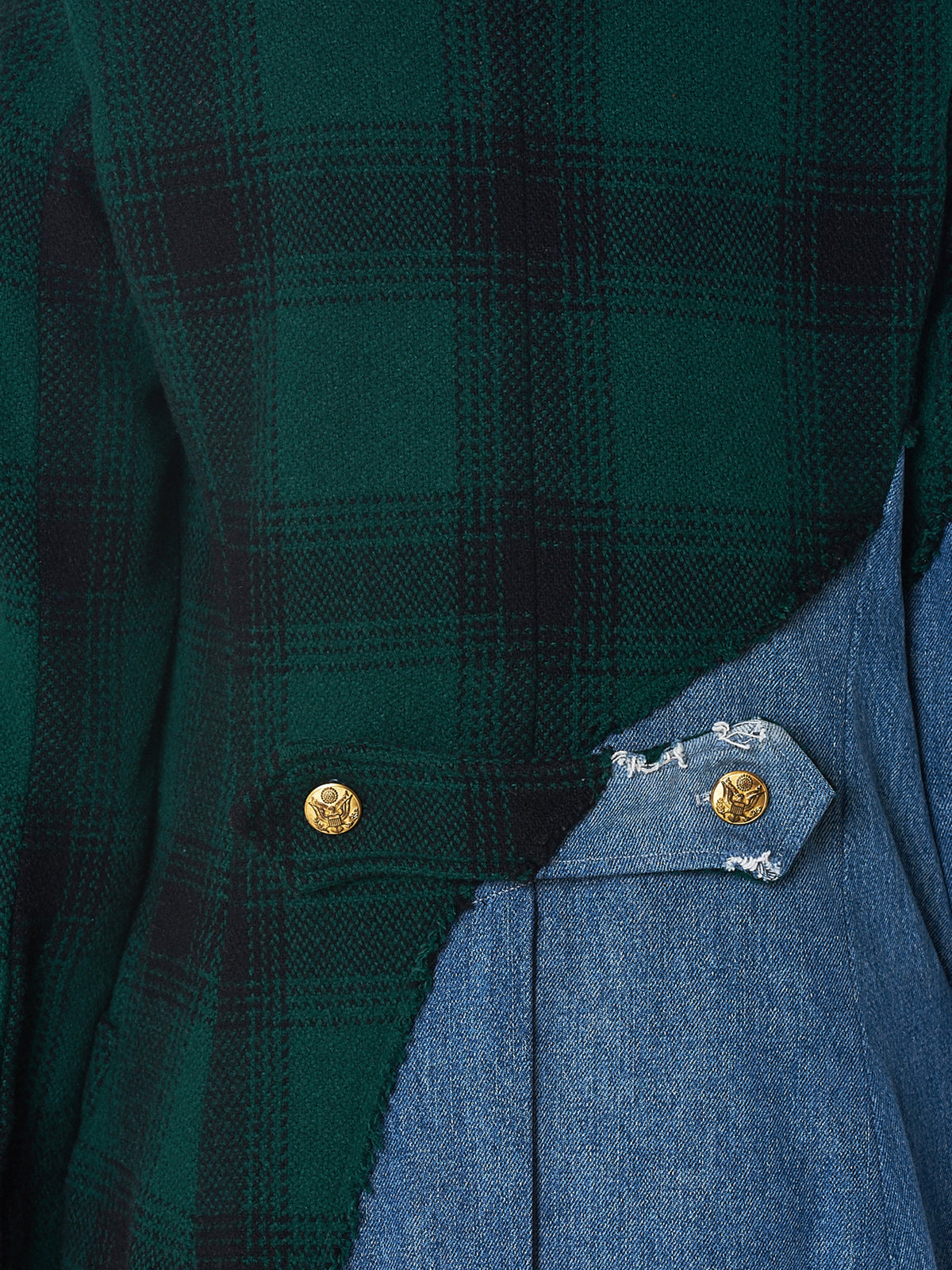 Hunter Wool x Vintage Denim Coat (W003-GREEN-BLACK-DENIM-BLUE)