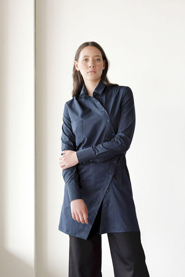 ReCreate Clothing | Juncture Cotton Shirt Dress | Ink Blue | The Colab Store  | Shop Womens | New Zealand