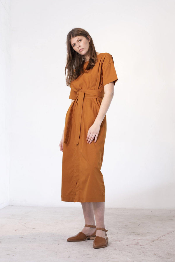 ReCreate Clothing | Array Cotton Poplin Dress | Rust Brown | The Colab Store  | Shop Womens | New Zealand