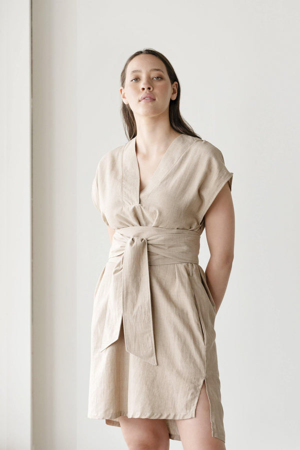ReCreate Clothing | Elevate Handwoven Cotton Dress | Driftwood | The Colab Store  | Shop Womens | New Zealand