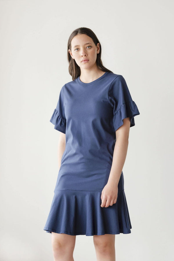 ReCreate Clothing | Voyage Cotton Dress | Navy Blue | The Colab Store  | Shop Womens | New Zealand