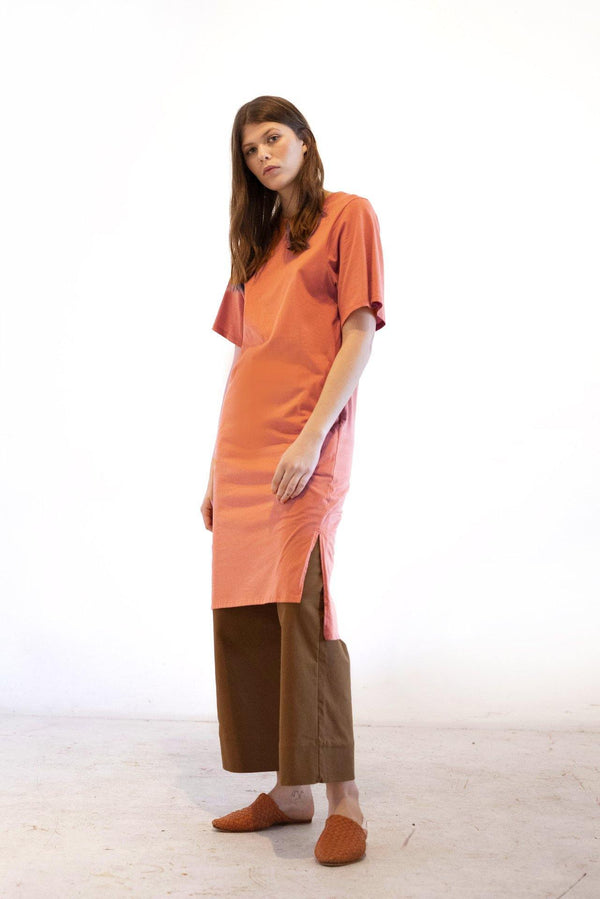 ReCreate Clothing | Form Tee Cotton Dress | Terracotta | The Colab Store  | Shop Womens | New Zealand