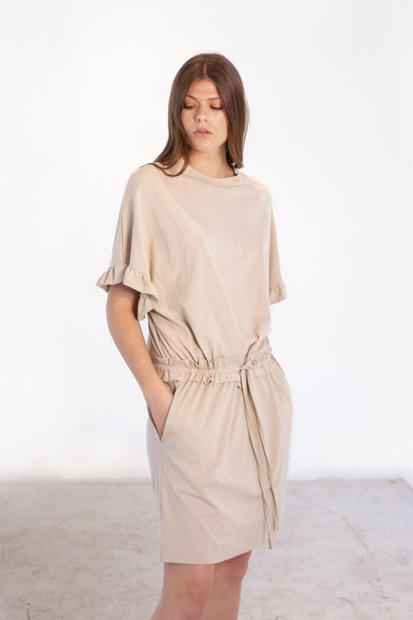 ReCreate Clothing | Composure Cotton Dress | Sand | The Colab Store  | Shop Womens | New Zealand