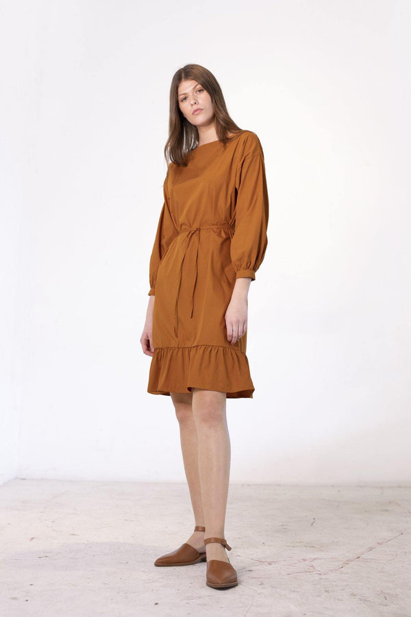 ReCreate Clothing | Prelude Cotton Dress | Rust Brown | The Colab Store  | Shop Womens | New Zealand