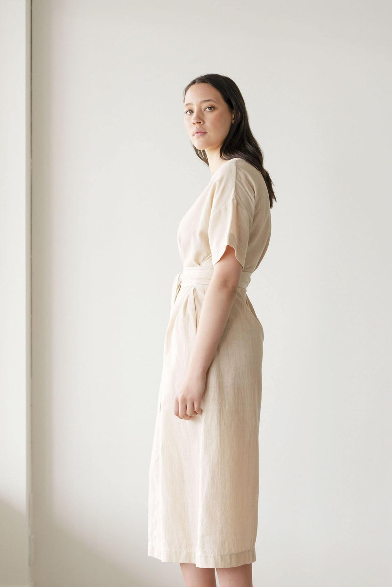 ReCreate Clothing | Abide Handwoven Cotton Dress | Oatmeal | The Colab Store  | Shop Womens | New Zealand