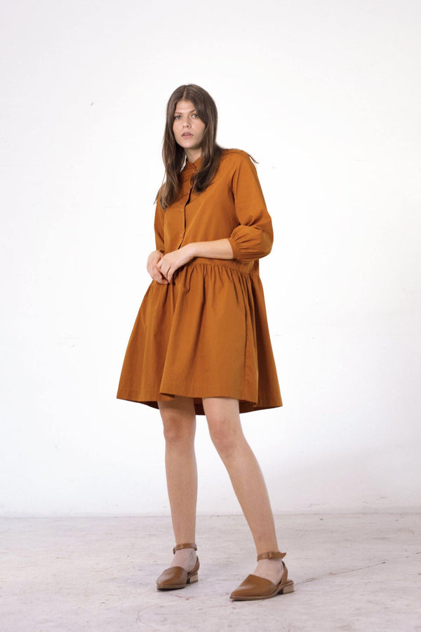 ReCreate Clothing | Industry Cotton Poplin Dress | Rust | The Colab Store  | Shop Womens | New Zealand