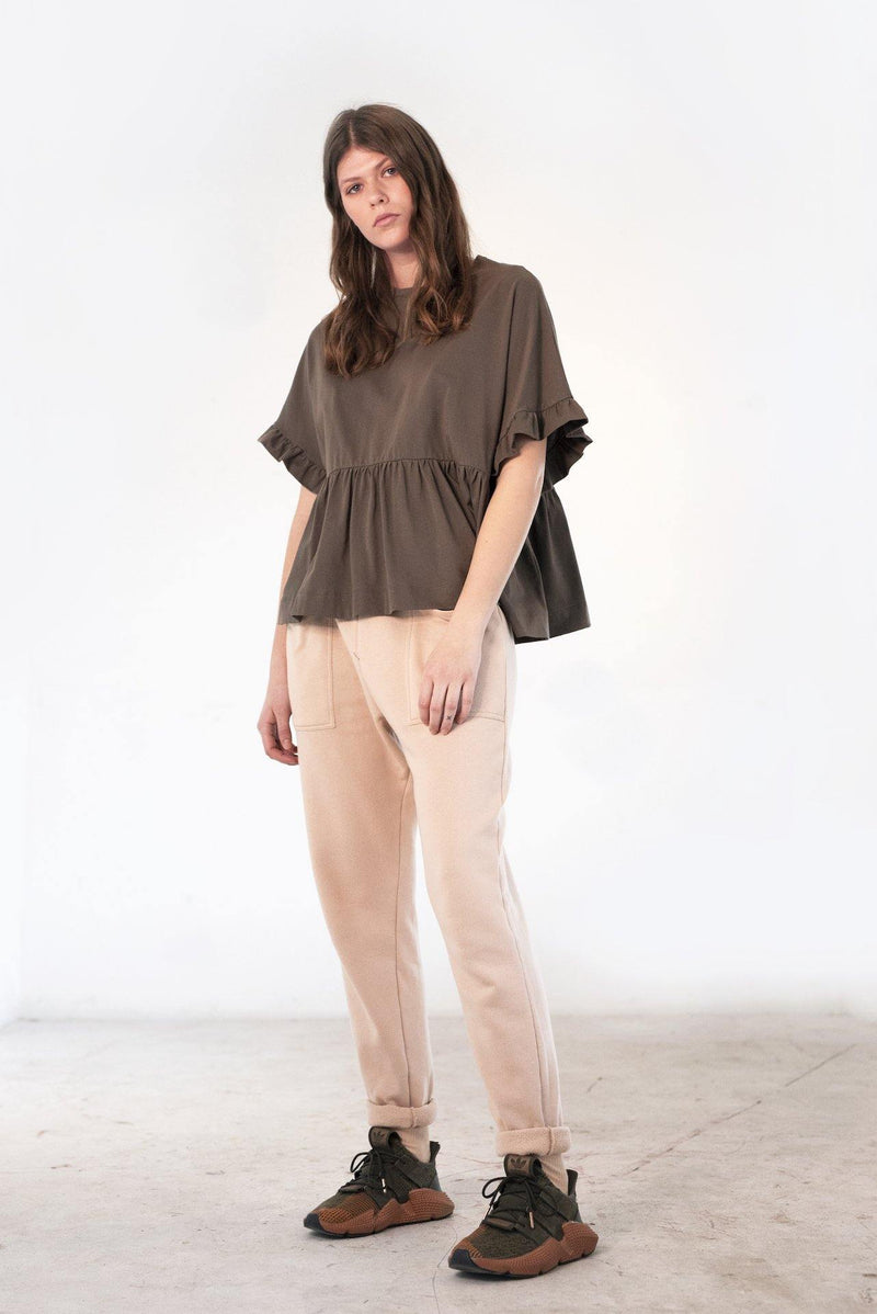 ReCreate Clothing | Cascade Cotton Top | Taupe Brown | The Colab Store  | Shop Womens | New Zealand
