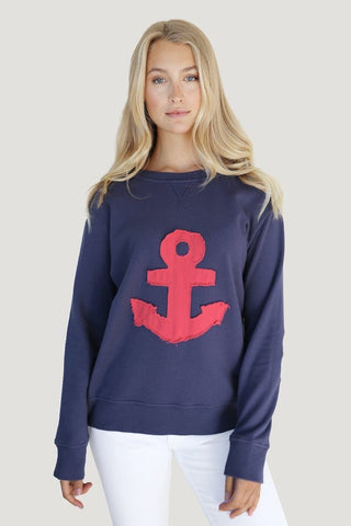 ZIP FRAYED ANCHOR SWEATER