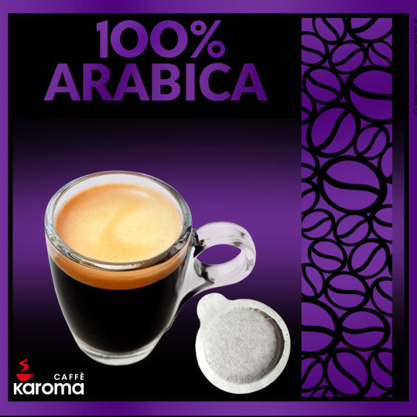 50 Caffe Karoma 100% Arabica ESE 44mm Paper Pods Intensity 9