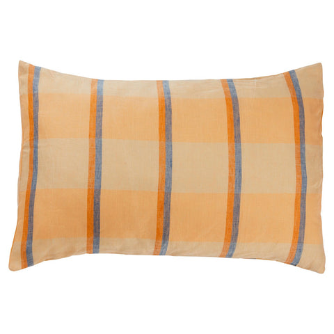 Theo Check Linen Pillowcase Set-Peach Soda