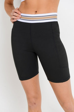 Tricolor Band Bike Shorts