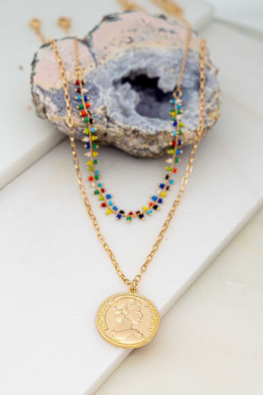 Color Beaded Layer Necklace