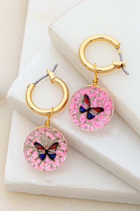 Floral Glass Earrings